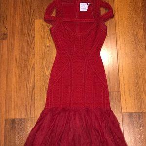 Herve Leger Cold-Shoulder  Bandage Dress, Red